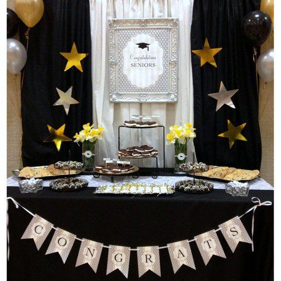 Modern Graduation Commencement Black Gold Seniors Graduate Party