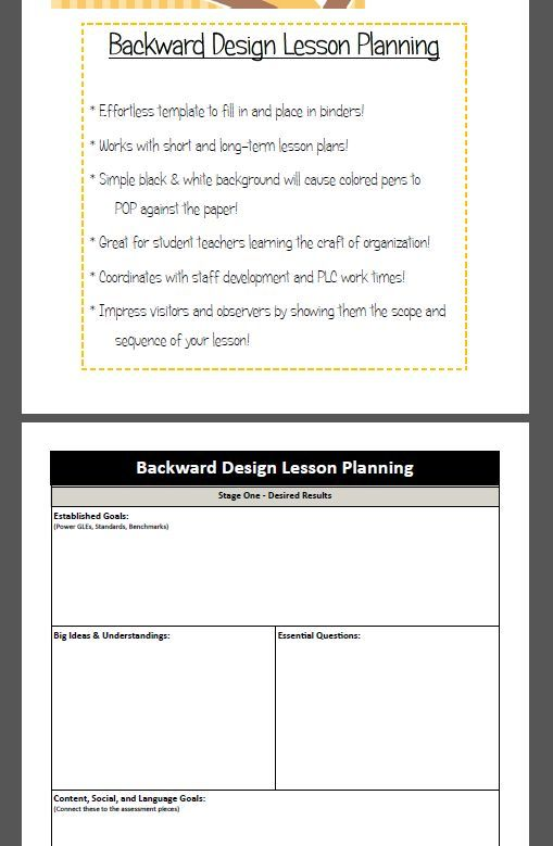 Backward Design Lesson Plan Template Pinterest Teacher