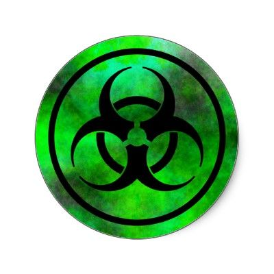 Green Fog Biohazard Symbol Sticker Haunted Houses Nerf Party And