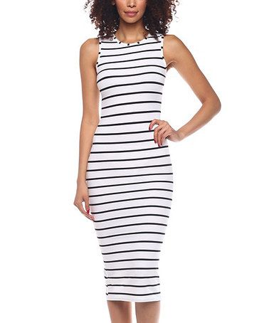 b9a32a9a3a Another great find on  zulily! White   Black Stripe Sleeveless Bodycon Midi  Dress  zulilyfinds
