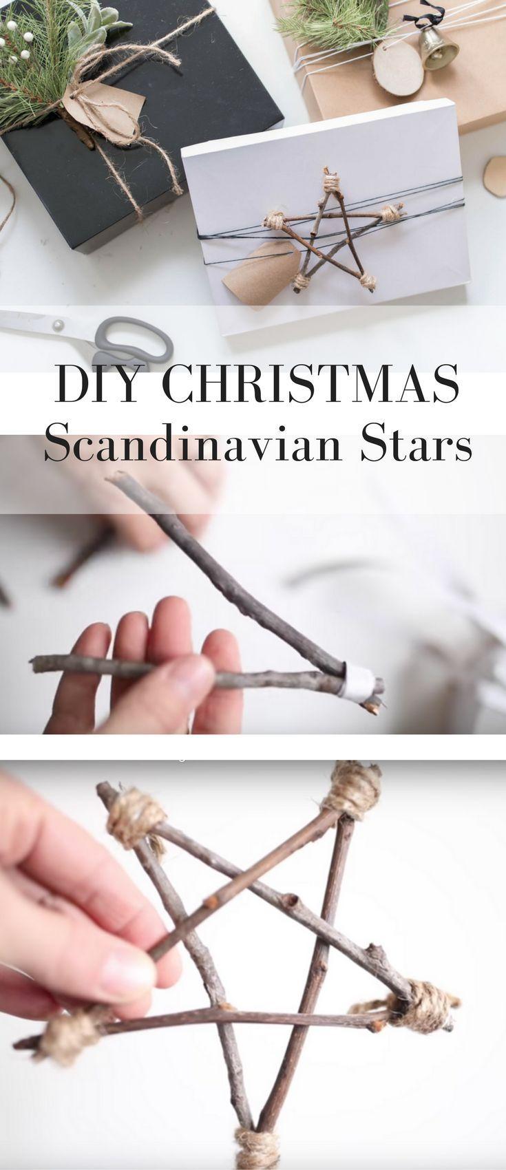 Minimal Christmas Gift Wrap with DIY Twig Stars