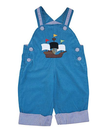Powell Craft Blue Pirate Ship Corduroy Overalls - Infant, Toddler & Boys | zulily