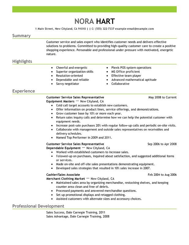 Customer Service Representatives Sales with Green Header and Summary - sample resume for medical representative