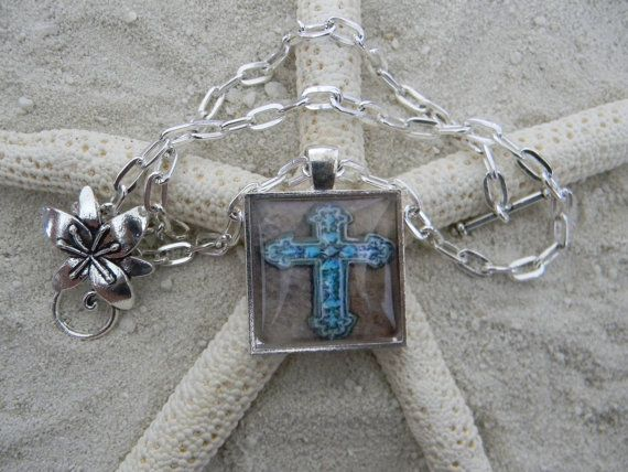 Southwestern Silver Plated Chain Glass Pendant Antique by SILJEWEL