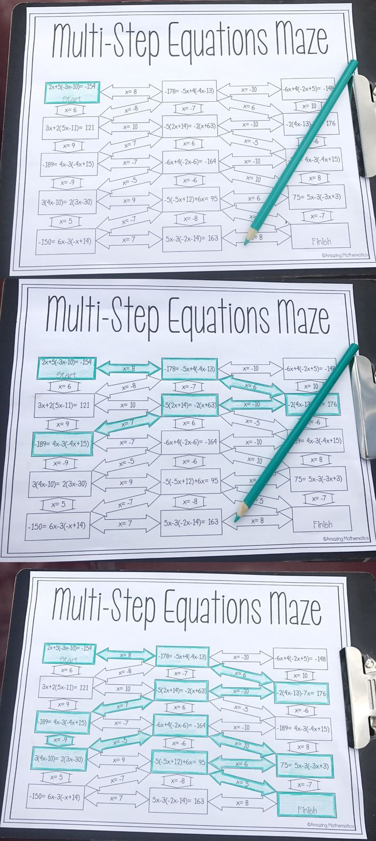 Solving MultiStep Equations Maze Worksheet High school