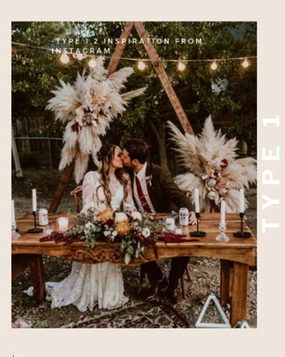 PAMPASGRAS (3 STEMS) – groß 4 Fuß hoch weiß getrocknete Pampas Pflanze Dekor, Pampas Hochzeit Dekor Bouquet, Boho böhmische Hochzeitsblume   – Düğün fikirleri