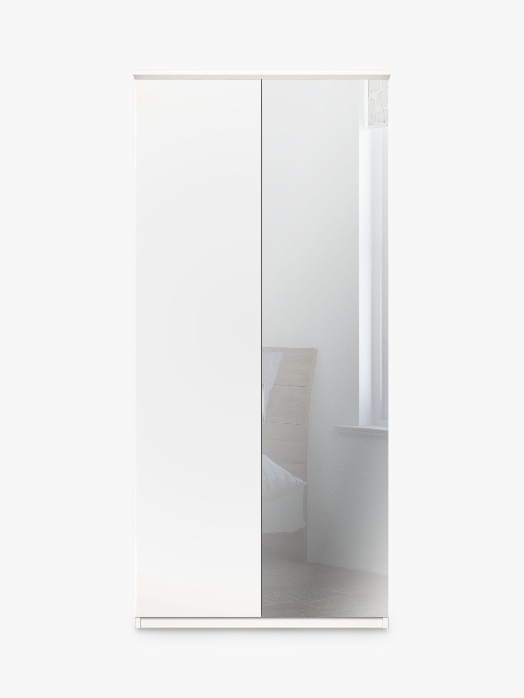 John Lewis Partners Elstra 100cm Wardrobe Right Hand Mirrored Hinged Door Matt White Mirror Hand Mirror Hanging Rail White Mirror