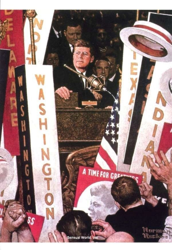 John F Kennedy  by Norman Rockwell  Giclee Canvas Print Repro
