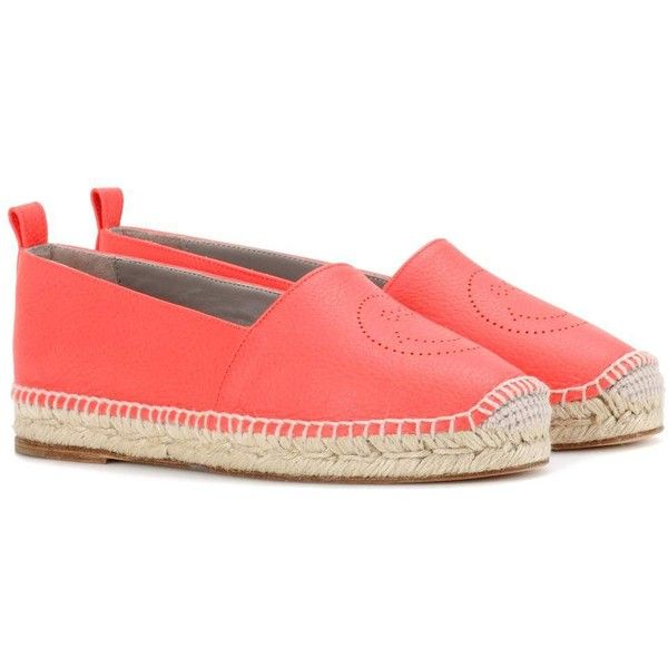 Anya Hindmarch Smiley Leather Espadrilles ($420) ❤ liked on Polyvore featuring shoes, sandals, espadrilles, orange, leather sandals, genuine leather shoes, anya hindmarch, orange shoes and orange leather shoes