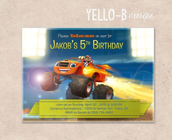 Blaze y la invitación de cumpleaños de Monster máquinas