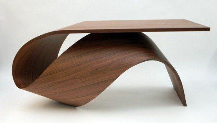 jolie tables basses ikea, table basse design en bois foncé