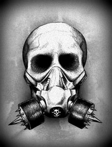 Skull Half Mask And Gas Mask Combined Gas Mask Tattoo Gas Mask Drawing Gas Mask