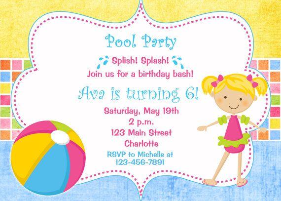 Pool party birthday invitation -- pool party - pool toys - swimming - birthday invitation swimming party