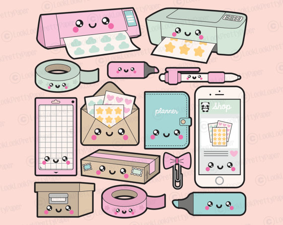 premium vector clipart kawaii planning clipart kawaii planner clip art set high quality. Black Bedroom Furniture Sets. Home Design Ideas