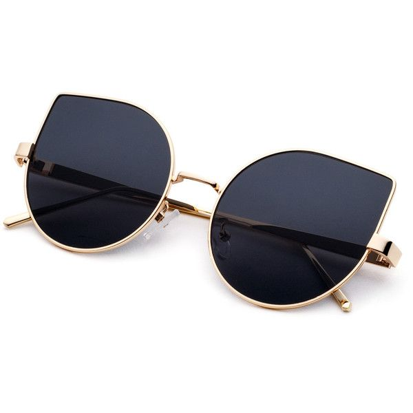 7c88ec39b95 SheIn(sheinside) Metal Frame Black Cat Eye Sunglasses ( 12) ❤ liked on  Polyvore featuring accessories
