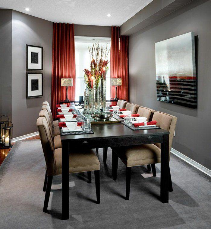 0 salle a manger complete pas cher moquette gris avec rideaux longs oranges dans la salle de. Black Bedroom Furniture Sets. Home Design Ideas
