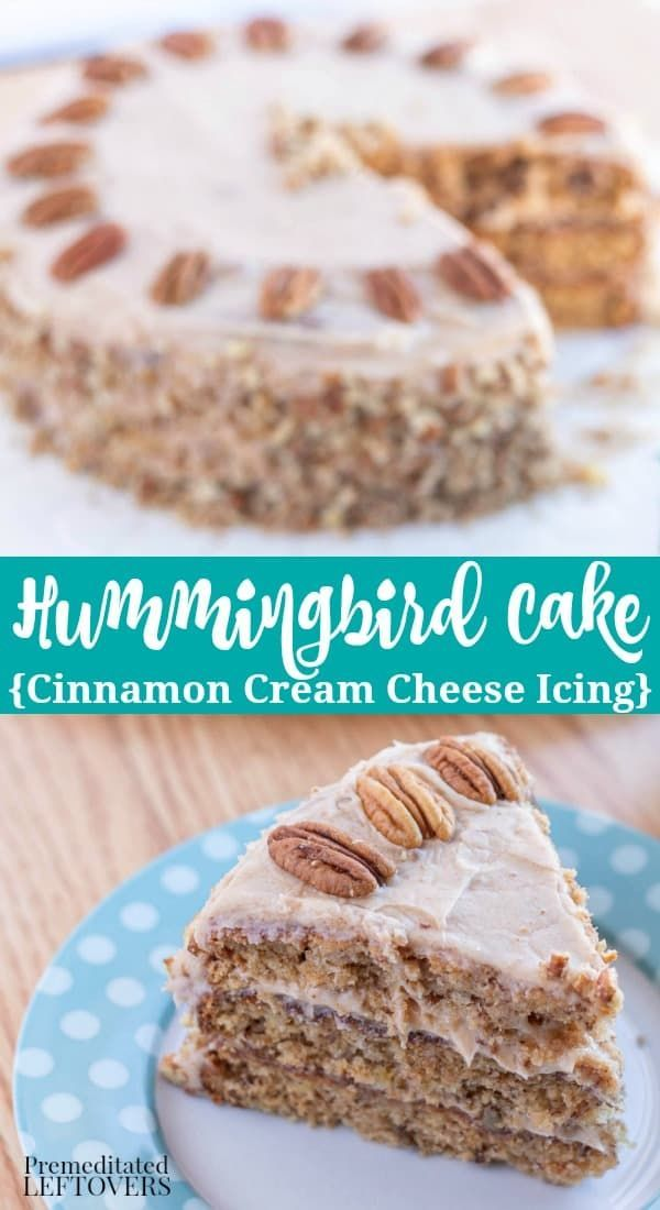 This traditional Hummingbird Cake recipe is made with pineapple and bananas. It is easy to make. It's topped with cinnamon cream cheese frosting and pecans.