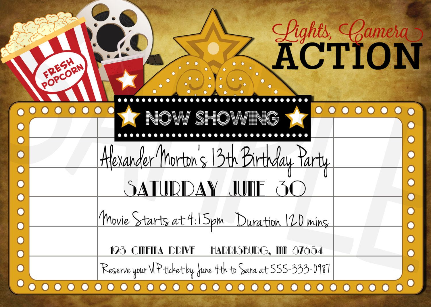 Take Me to the Movies Printable Birthday Party Invitation - Cinema ...