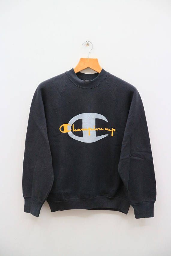 1a1342ad Vintage CHAMPION Cup Big Logo Sportswear Black Sweater Sweatshirt Size M