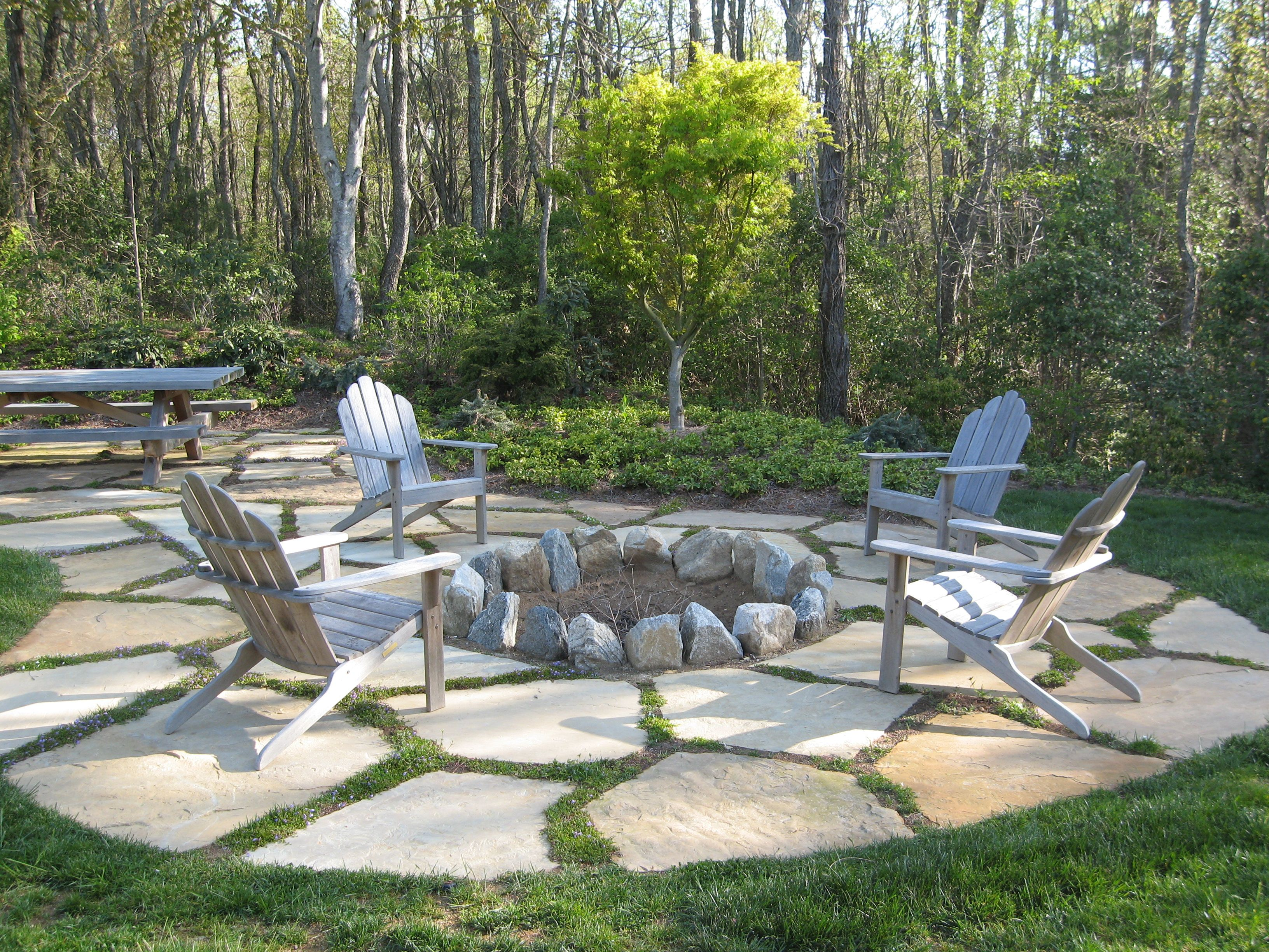 stepping stone surround with planted fire pit defined by on backyard fire pit landscaping id=48754