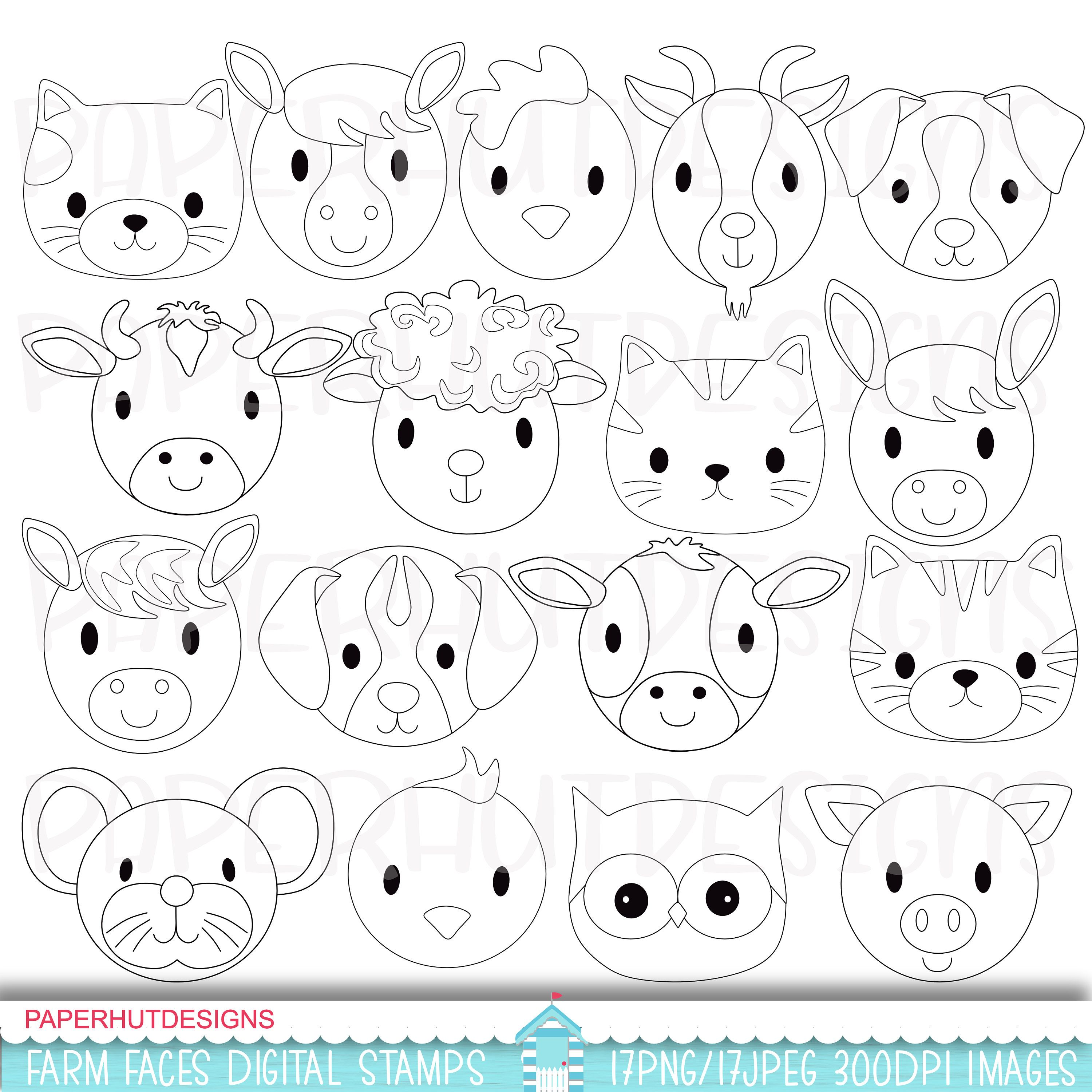 Farm Animals Digital Stamp Farm Animal Faces Black And White Etsy Animal Coloring Pages Digital Stamps Coloring Pages