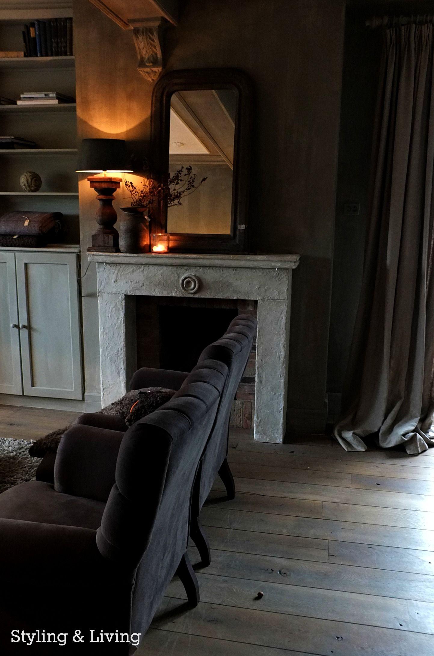 kalkverf krijtverf vergrijsd hout en linnen styling