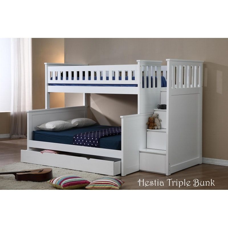 Single Over Double Bunk Bed With Staircases Can Be Separated Into 1 Single Bed And 1 Double Bed Underneath Single S Bunk Beds Kids Bunk Beds Bunk Bed Designs