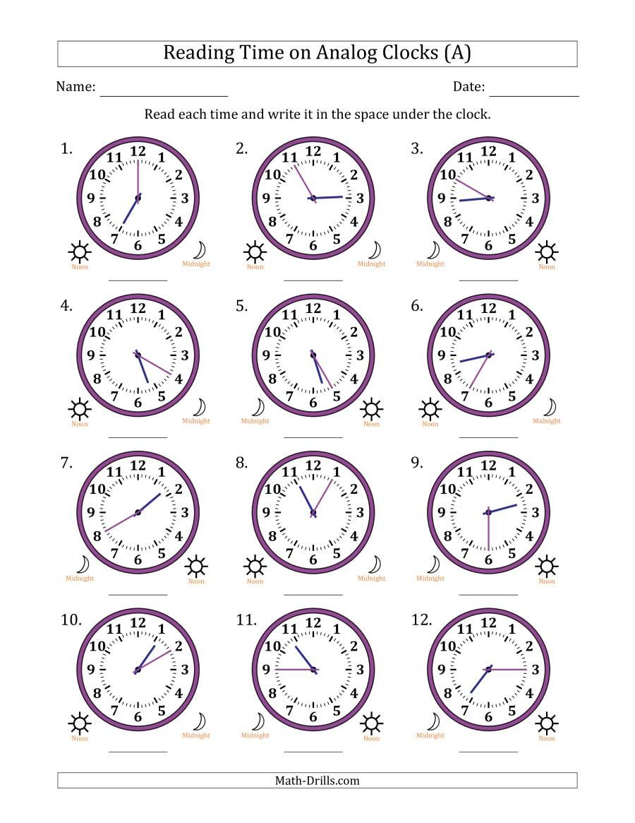 The Reading 12 Hour Time On Analog Clocks In 5 Minute Intervals 12 Clocks A Math Worksheet From The Time Math Work In 2020 Clock Worksheets Math Clock Analog Clock