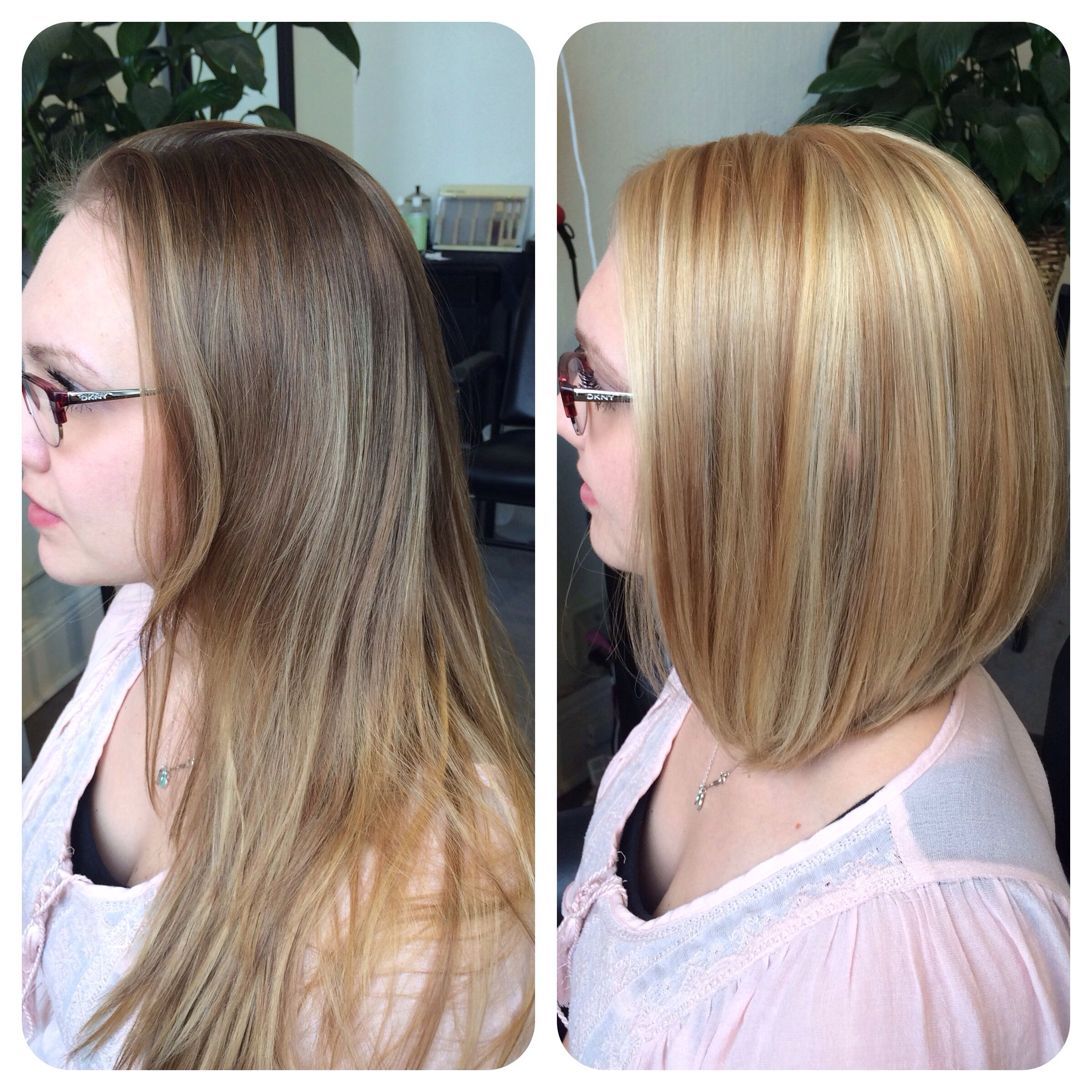 Before/after partial highlight with blonde all over color. #blonde ...