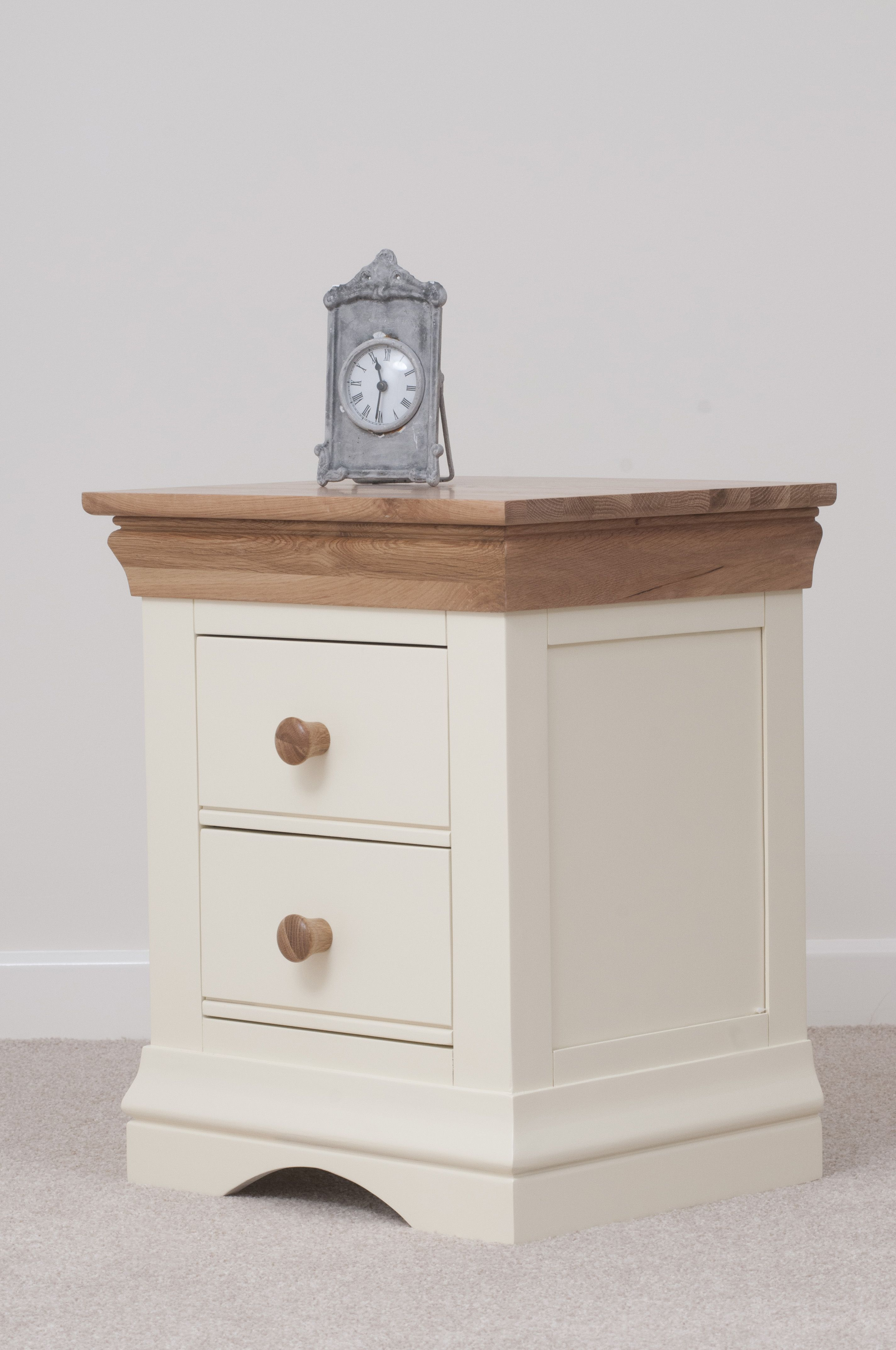 Country Cottage Painted Funiture Bedroom Cream Bedside Table Oak