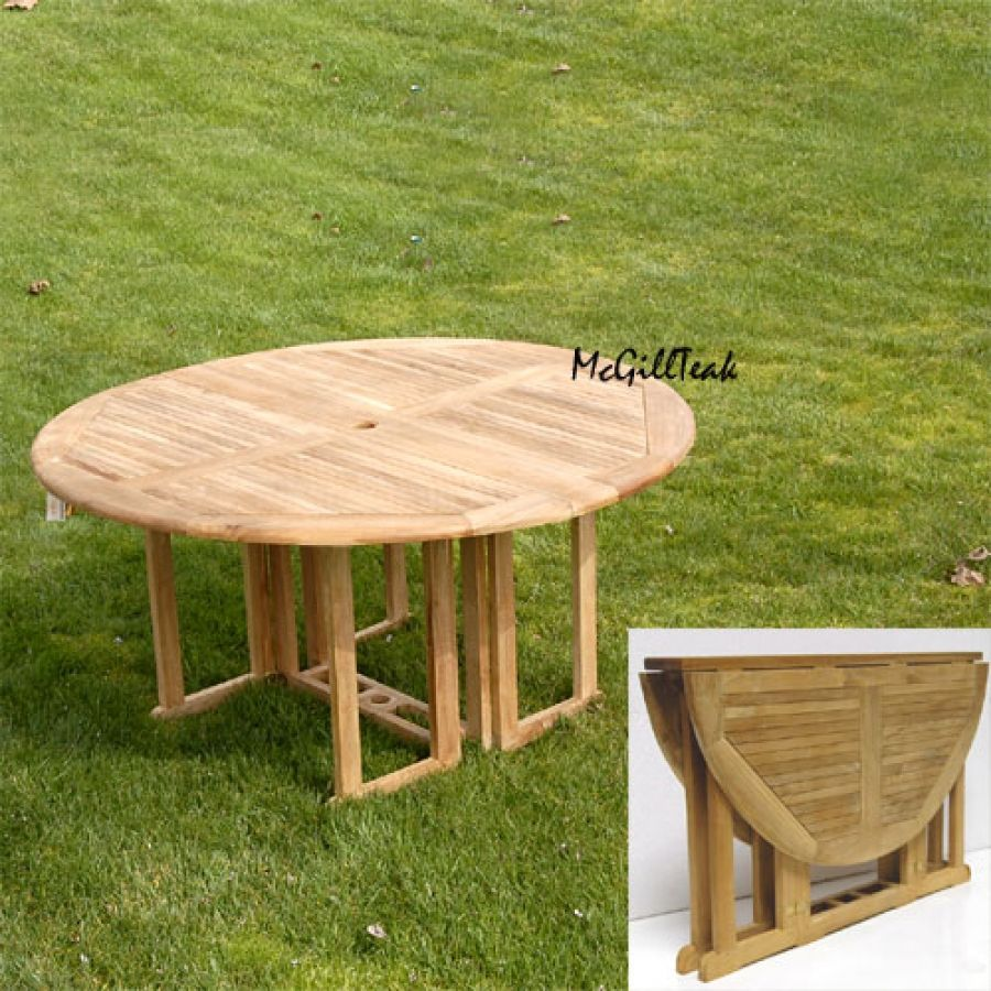 Quot Mardel Quot Teak Butterfly Round Folding Outdoor Table In