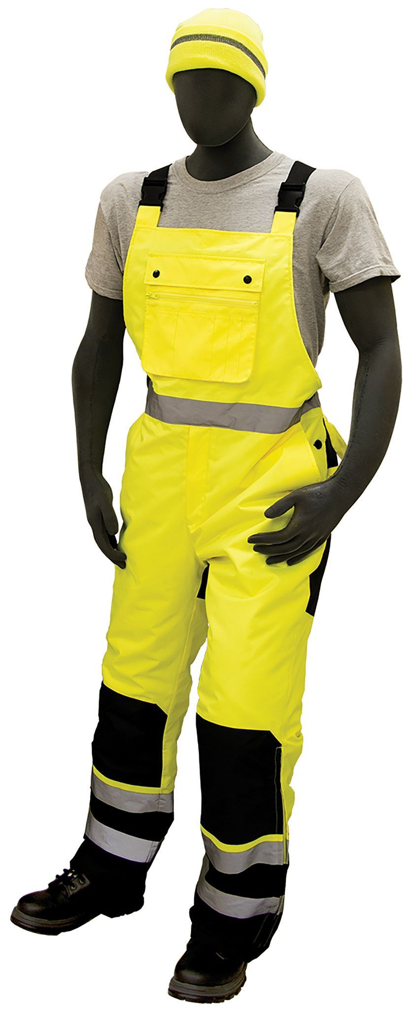 majestic 75 2357 high visibility yellow black quilted on insulated overalls id=72418