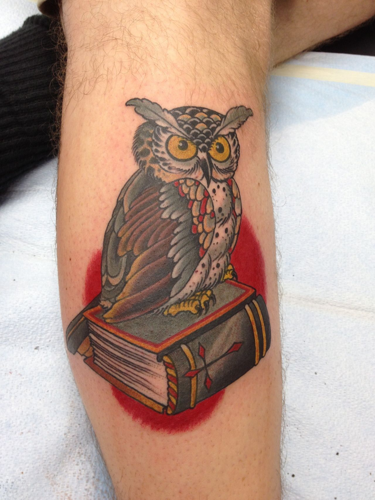 Traditional Owl Perched On Book Tattoo Done By Mark Vanness At Vanness Fellows Tattoo Boutique Raleigh N C Tattoos Tattoos For Women Traditonal Tattoo