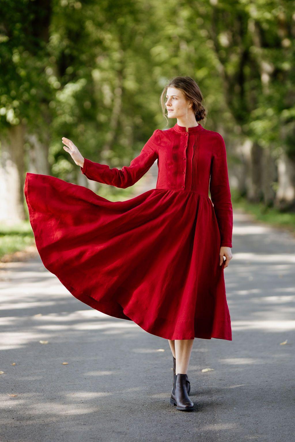 Elisa Dress, Long sleeves, Red Poppy Son de Flor Red