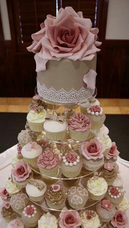 torre de cupcakes - rosas   tartas para bodas en 2019   gâteau de