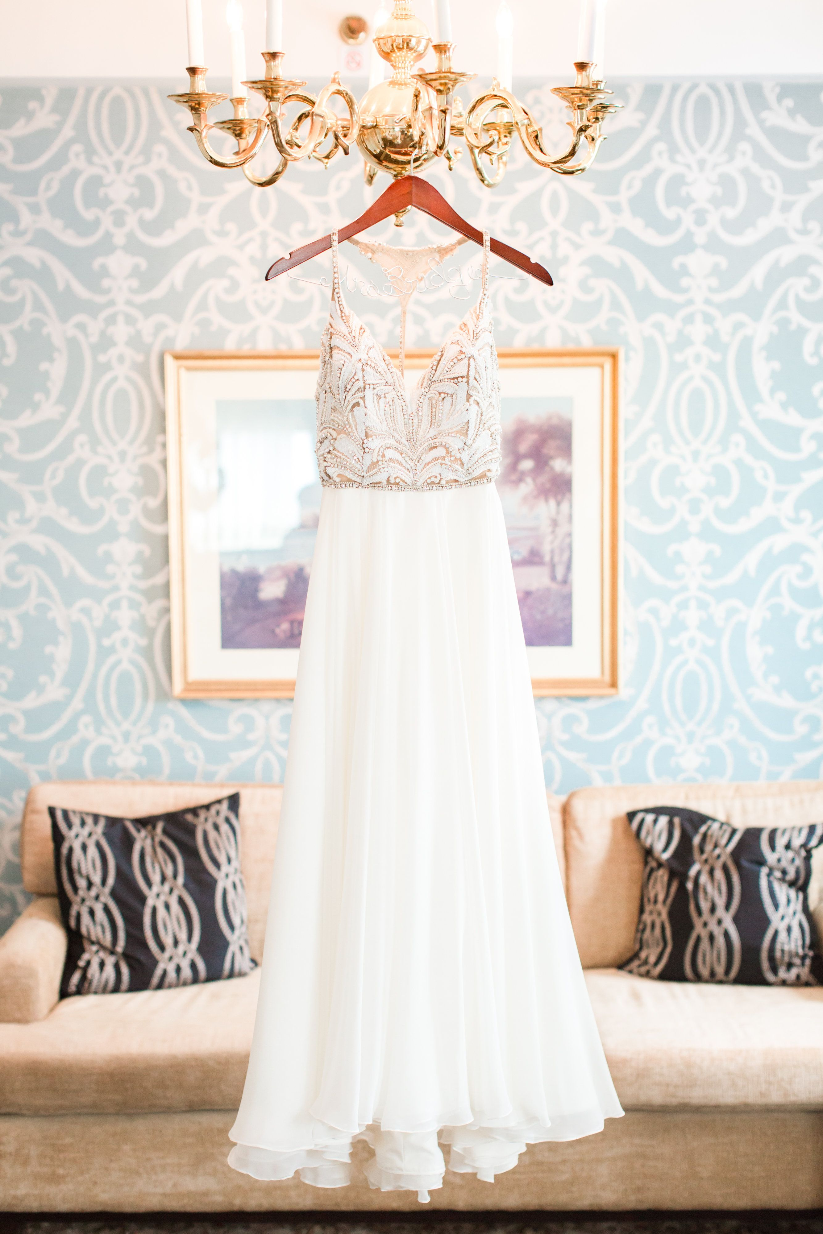 Fall outdoor wedding dresses  Teresa gown by Hayley Paige  Classic soft green  peach outdoor