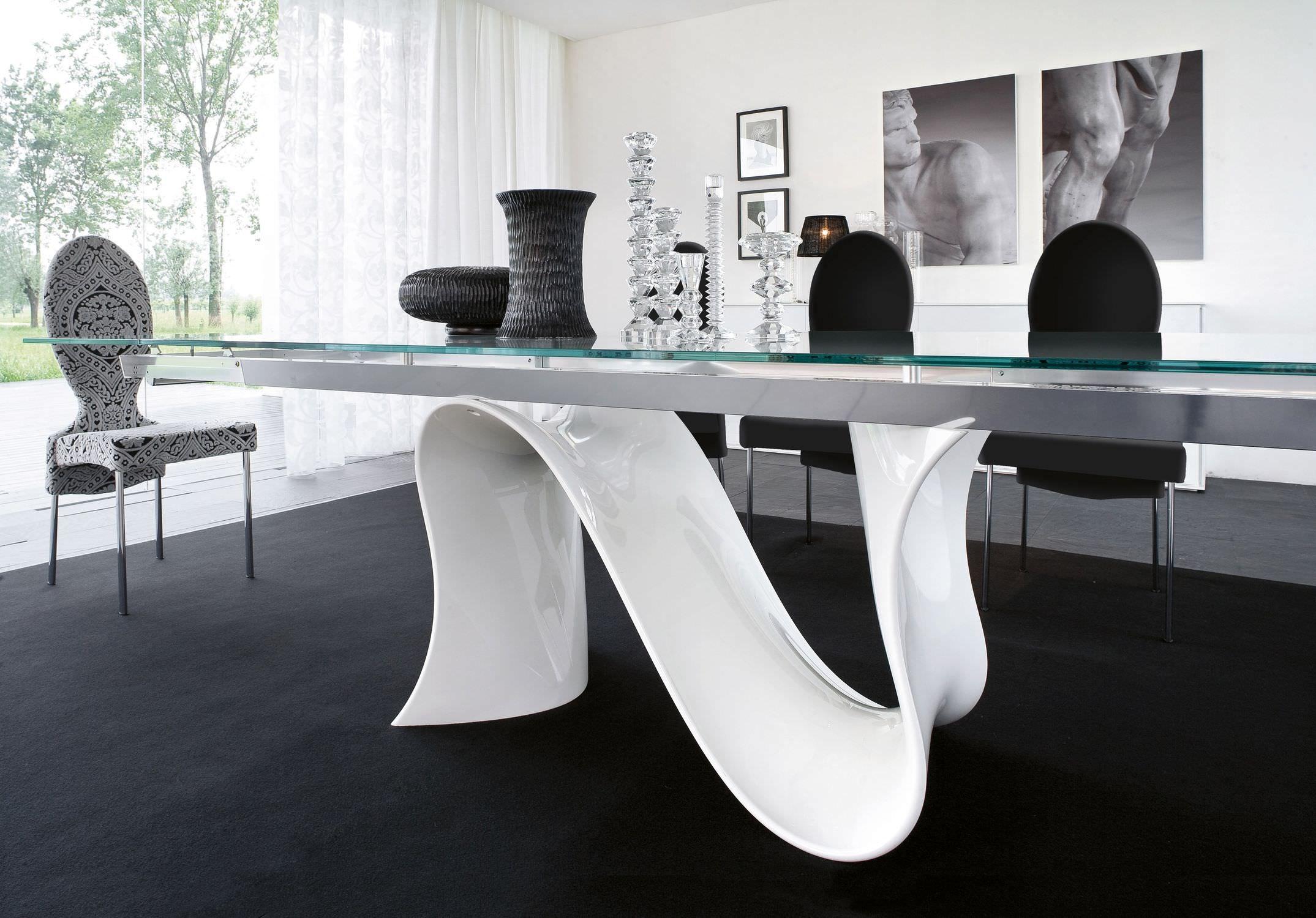 White modern dining table - Marvellous Glass Top Dining Table Design Ideas By Long Square Glass Table With N Curving Shape