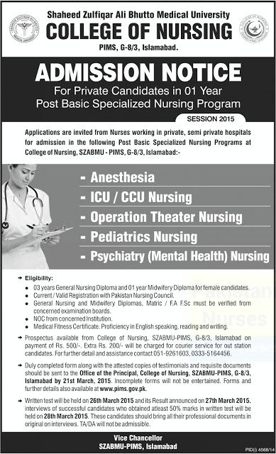 Admissions Notice College of Nursing PIMS 1 Year Post-basic - form for school admission