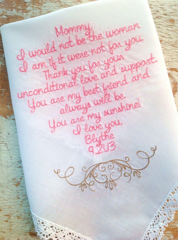 Embroidered Wedding Handkerchief Monogrammed custom mom handkerchief ...