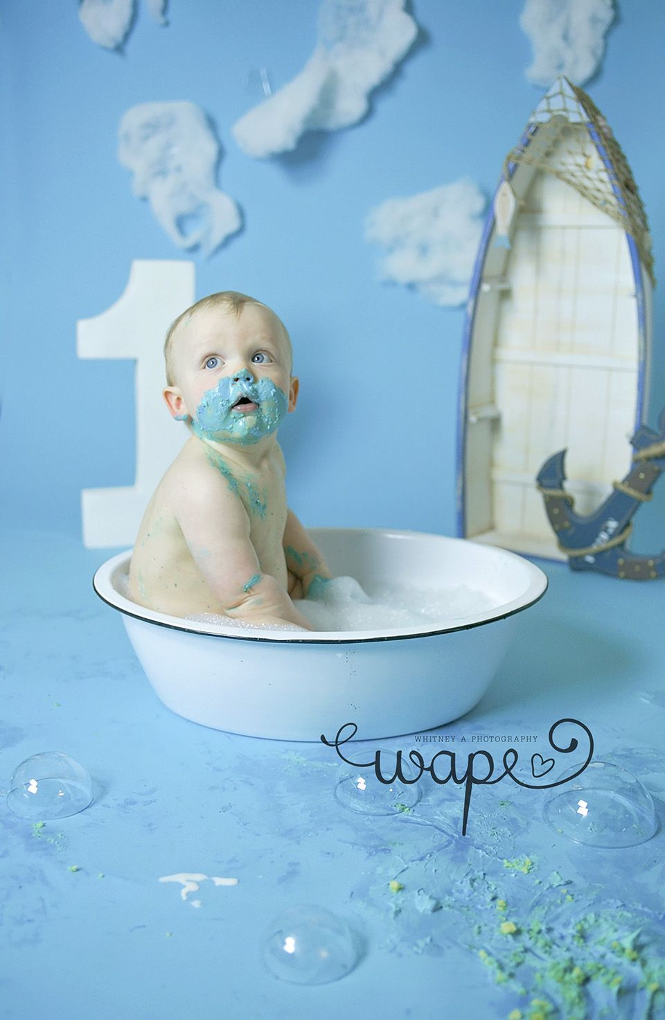 Splish splash bubble bath, cake smash, nautical theme | Whitney A ...