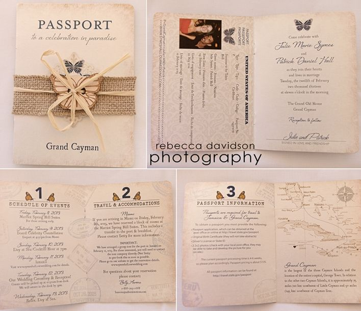 Rhode Island Wedding Invitation Printed: Vintage Passport Style Cayman Islands Wedding Invitation