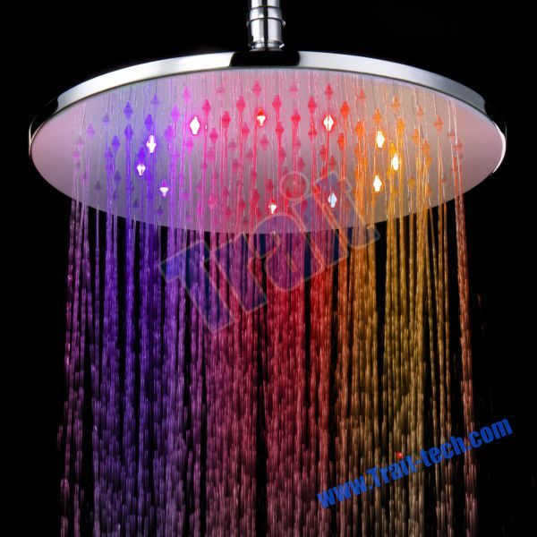 colorful shower heads. copper circular head rainbow color flash led overhead shower colorful heads