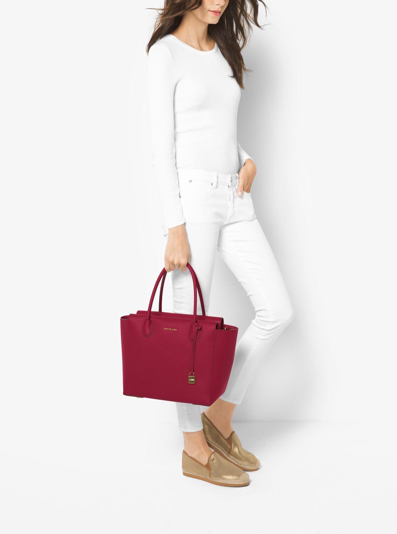 e62a8df3e498 MICHAEL KORS Mercer Large Leather Satchel. #michaelkors #bags #canvas  #polyester #leather #lining #satchel #shoulder bags #hand bags #
