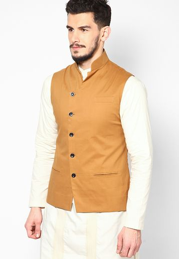 074f07838 I Know Solid Mustard Yellow Ethnic Jacket - Buy Men Ethnic Wear Online