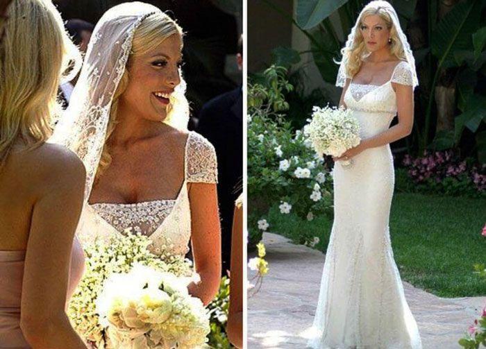 Tori Spelling In Gorgeous Badgley Mischka Gown Celebrity Wedding