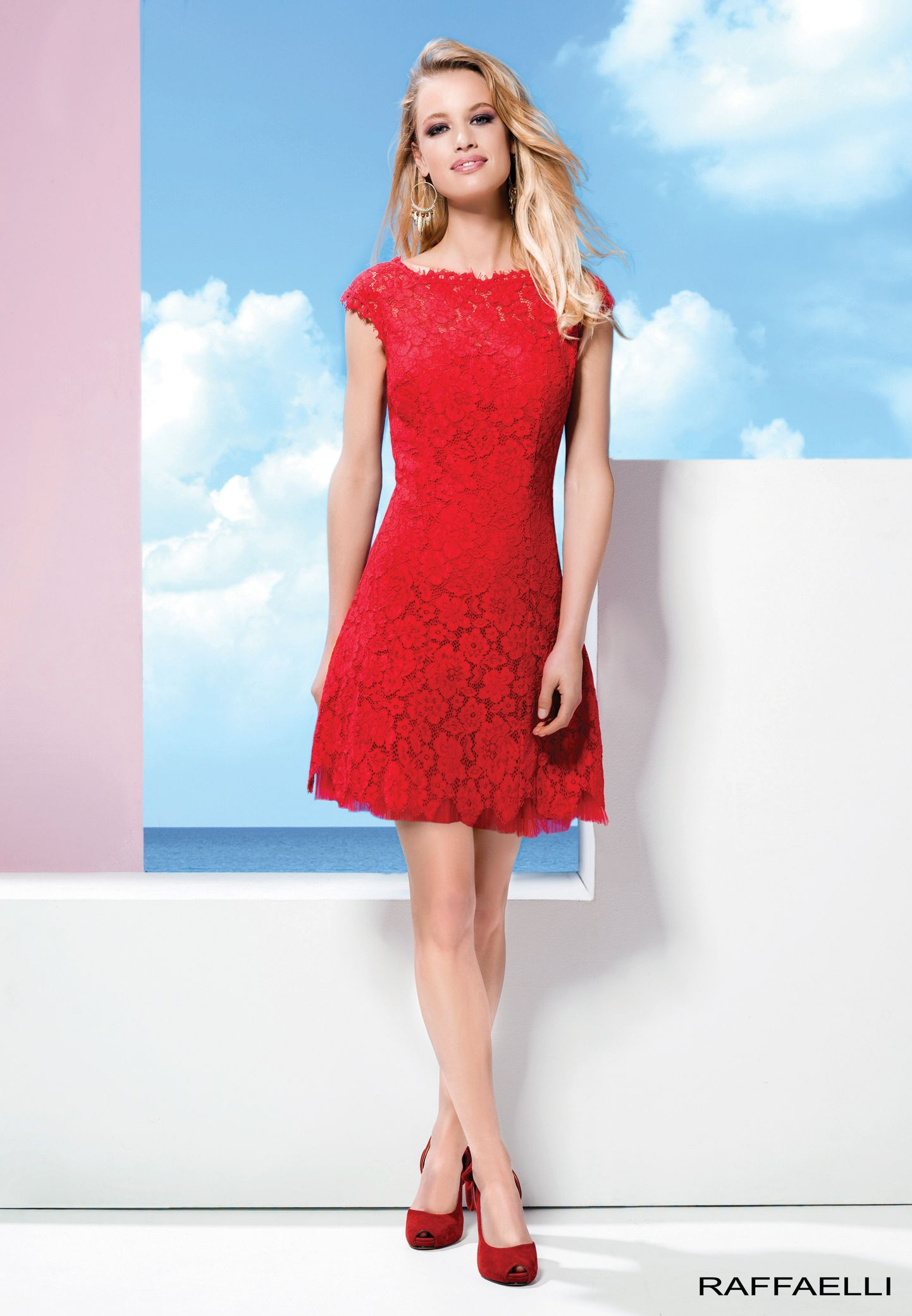 What colour shoes with red lace dress