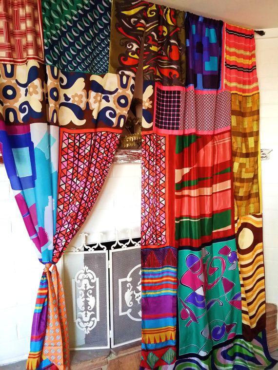 Boho Curtain 1970/'s Fabric Vintage Fabric Boho