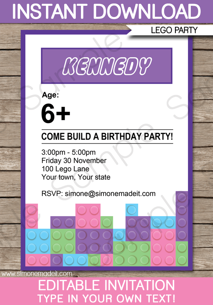 Lego Friends Party Invitations | Birthday Party | Editable DIY Theme  Template | INSTANT DOWNLOAD $7.50