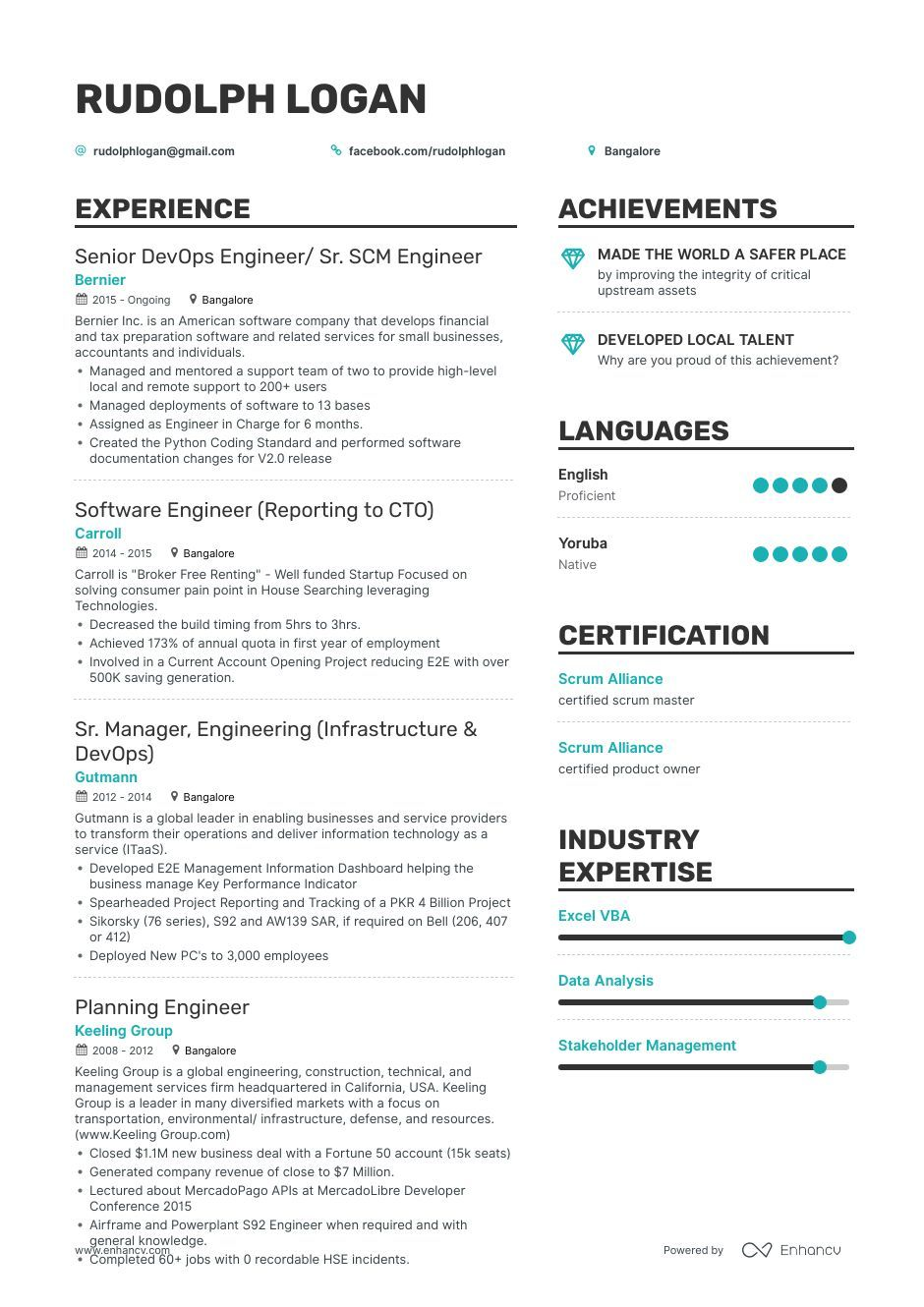 Engineer Resume Example and guide for 2019 Resume
