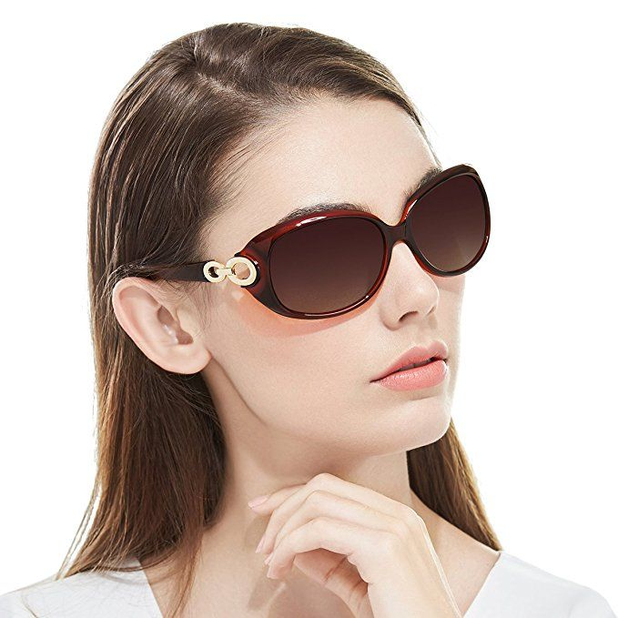 3be25cf95c Myiaur Oversized Stylish Fashion Polarized Sunglasses for Women Driving  100% UV Protection …(brown)